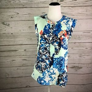 J.CREW Mint Blue Floral Drapey Sleeveless Tank Top